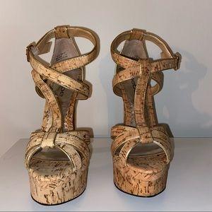 Bebe Beige Cork Platform Sandals